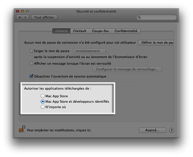 Avant macOS Sierra : les préférences de sécurité
