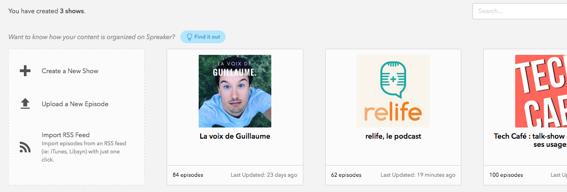 Interface de Spreaker - La voix de Guillaume - Relife - Tech Café